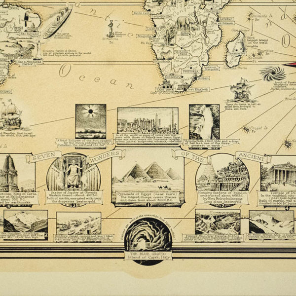 Ernest Chase, World Wonders, A Pictorial Map, detail