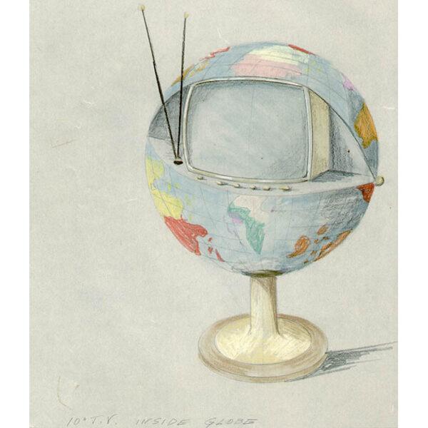10-Inch T.V. Inside Globe, detail