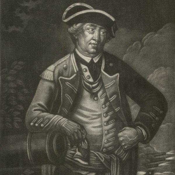 Israel Putnam, Esq'r., mezzotint portrait, detail