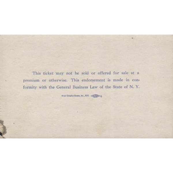 New York's Birthday Salute to President Kennedy, Ticket