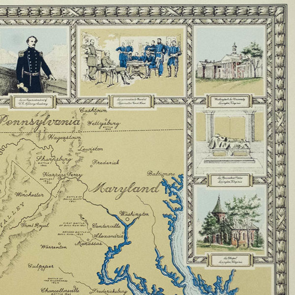 Karl Smith, Robert E. Lee pictorial map, detail