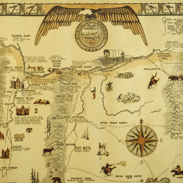 Oregon Pictorial Map, detail