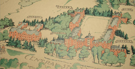 Wellesley College pictorial map, detail