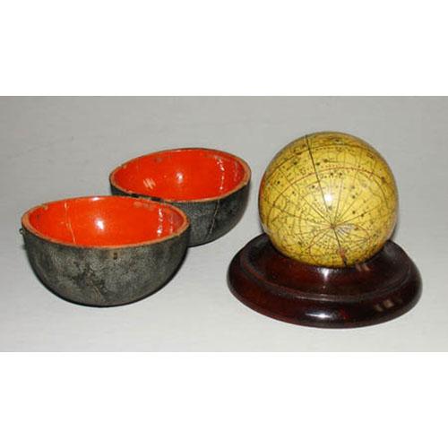 John & William Cary 3-Inch Celestial Pocket Globe in Fish Skin Case