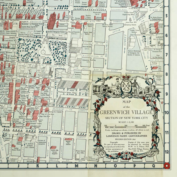Fahey, Map of the Greenwich Village Section of New York City, detail