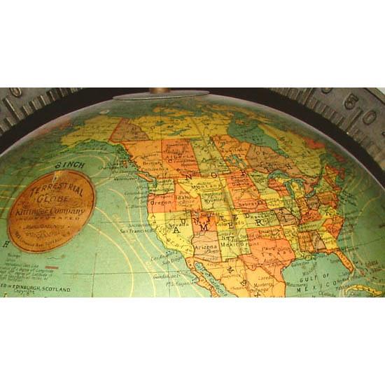 W. & A.K. Johnston/ Kittinger 8-Inch Terrestrial Table Globe, detail