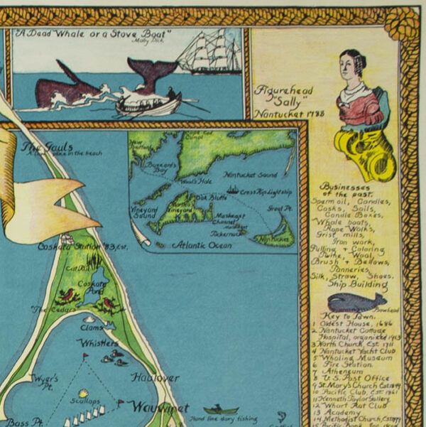 Pictorial Map of Nantucket, detail