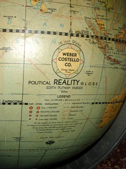 "Weber Costello 16-Inch ""Political Reality"" Duncan Phyfe Floor Globe detail"