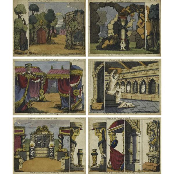 Hodgson & Co., Temple of Death Toy Theatre Scenes (6 plates)