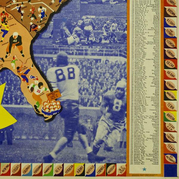 Pigskin Panorama News: Albert Richard Football Map, 1939, detail