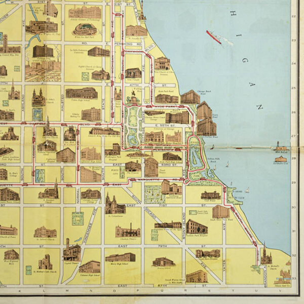 Chicago Motor Coach Pictorial Map of Chicago, detail