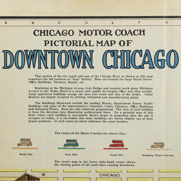 Chicago Motor Coach Pictorial Map of Chicago, detail, verso