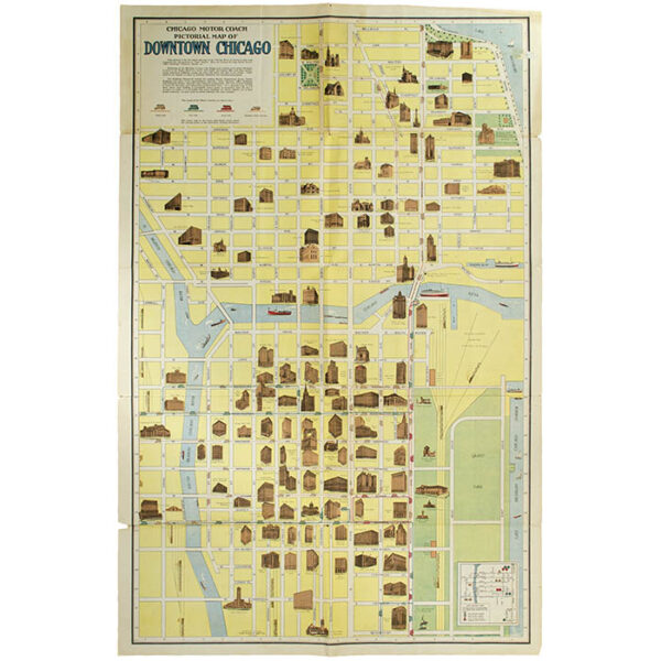 Chicago Motor Coach Pictorial Map of Chicago, verso