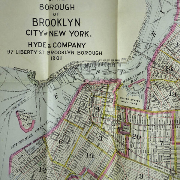 Hyde & Company, Map of the Borough of Brooklyn, City of New York, Detail showing the Williamsburg Bridge (called East River Bridge) and Brooklyn Bridge (called New York-Brooklyn Bridge)
