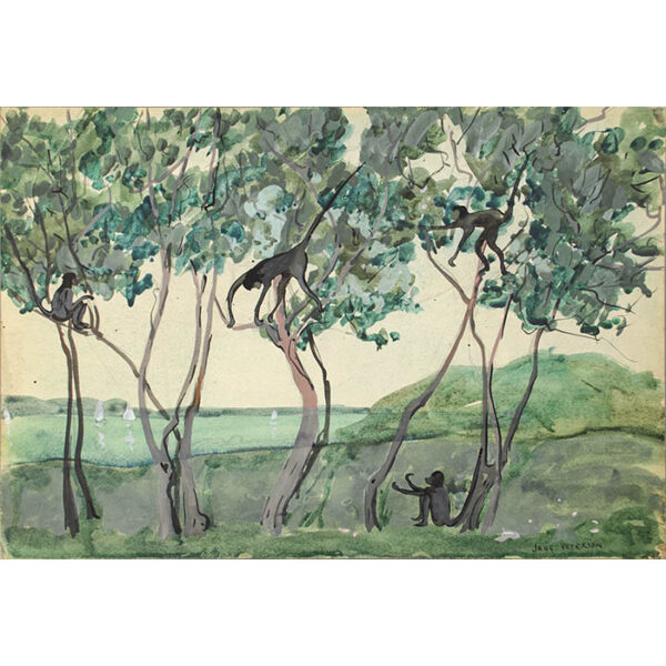 Jane Peterson, Four Monkeys in Tropical Landscape