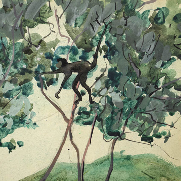 Four Monkeys in Tropical Landscape, detail