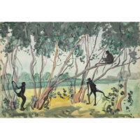 Jane Peterson, Three Monkeys in Tropical Landscape