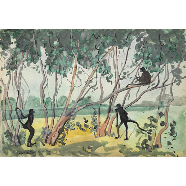 Jane Peterson, Three Monkeys in Tropical Landscape