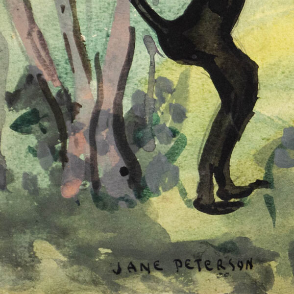 Jane Peterson, Three Monkeys in Tropical Landscape, detail