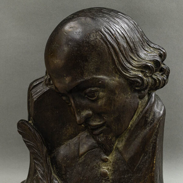 Shakespeare Profile Bust and Inkwell, detail