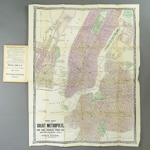 Pocket Map, New York City, New Map of the Great Metropolis, 1867