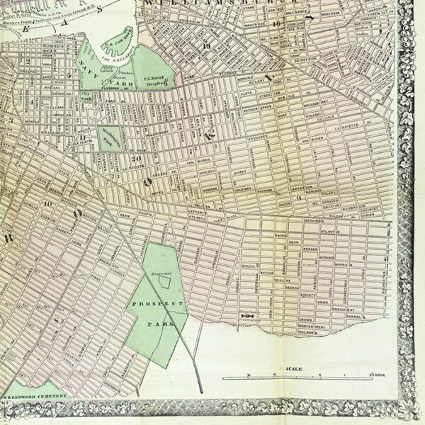 Pocket Map, New York City, New Map of the Great Metropolis, 1867, detail