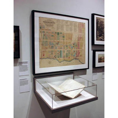 This lithograph map, lent by the gallery, produced in 1870 by John B. Holmes