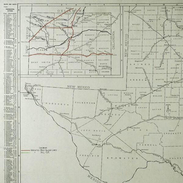 Rand McNally Custom Set of Rock Island Line State Map, detail