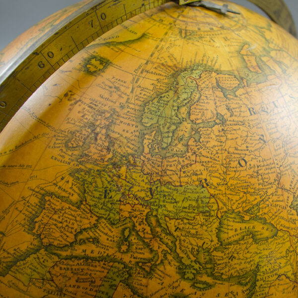 S.R. Gray, successor to James Wilson & Sons, 13-inch Terrestrial Table Globe, detail