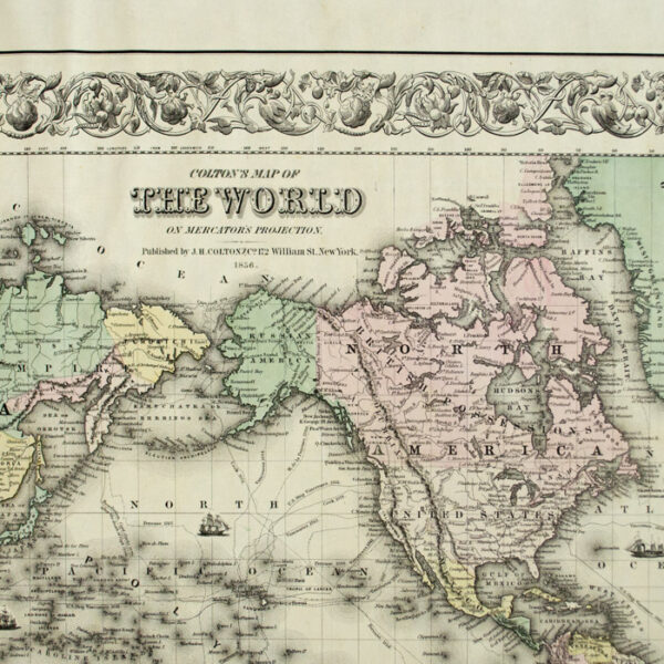 Colton's Map of The World on Mercator's Projection, detail