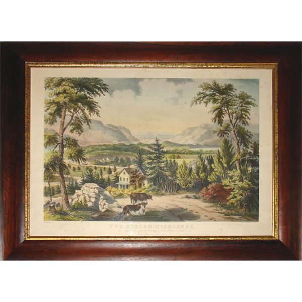 Fanny Palmer, Hudson Highlands, Currier & Ives print, framed