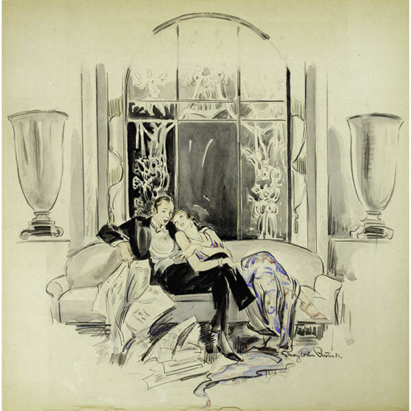 May Wilson Preston, [Lounging Couple after a Party]
