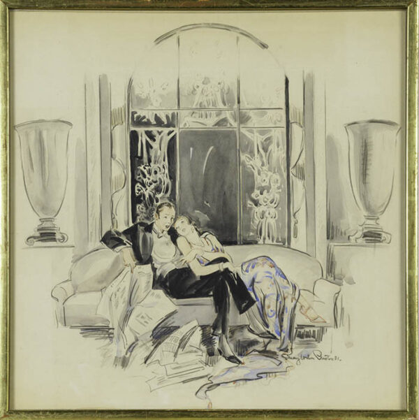 May Wilson Preston, [Lounging Couple after a Party], framed