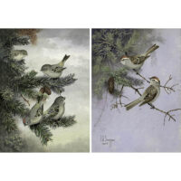 Pair of Steffen bird paintings: Kinglet and Sparrow