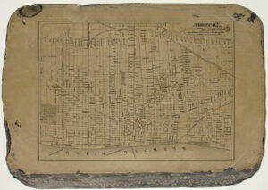 Lithograph stone for an antique map of Detroit