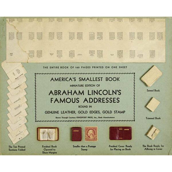 Promotion for Miniature Book of Abraham Lincoln's Famous Addresses, detail