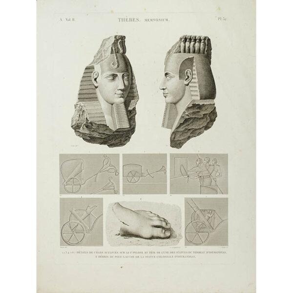 Thèbes, Memnonium, Part A, Volume II, Plate 32 [Statue and Tomb of Osmandias, Luxor, Egypt]