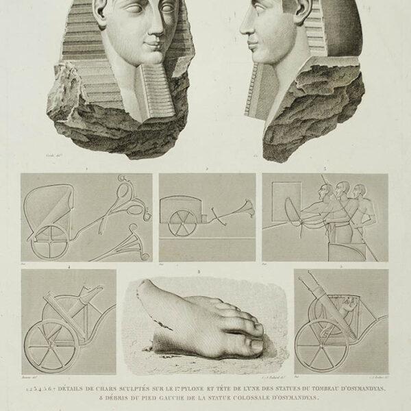 Thèbes, Memnonium, Part A, Volume II, Plate 32 [Statue and Tomb of Osmandias, Luxor, Egypt], detail