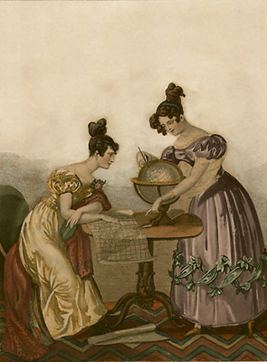 Two Victorian women looking at a globe