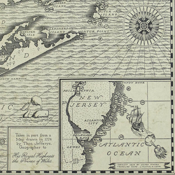 An Authentic Map of the Eastern Seaboard from Gloucester to Delaware Bay Showing Locations of Sunken Treasure, detail