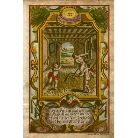Januarius [January]. Three cherubs rake grain being stored for the winter.