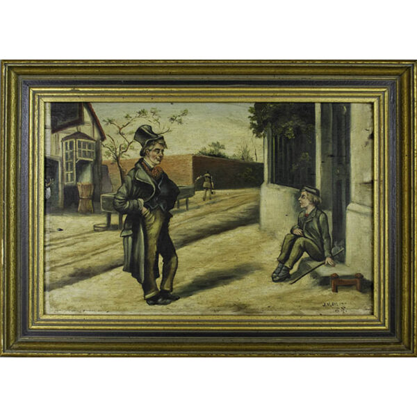 Scene from Charles Dickens' Oliver Twist, Oliver meets Artful Dodger