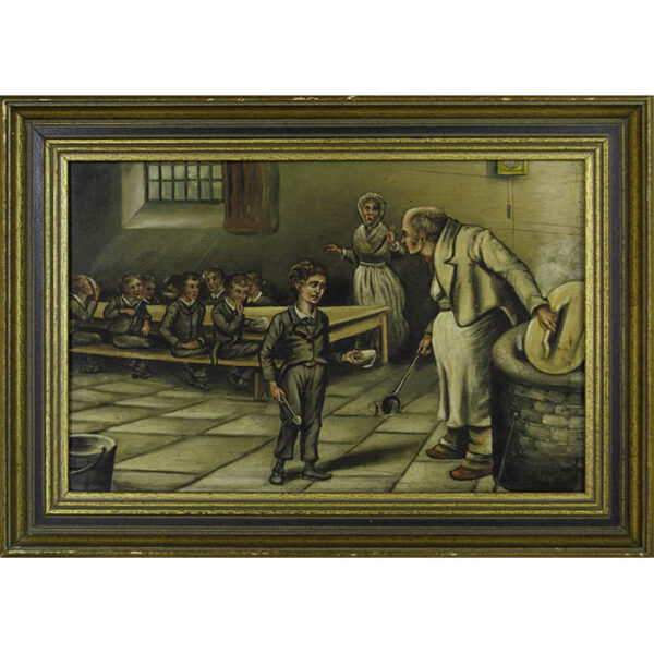 Scene from Charles Dickens' Oliver Twist, Oliver in the workhouse