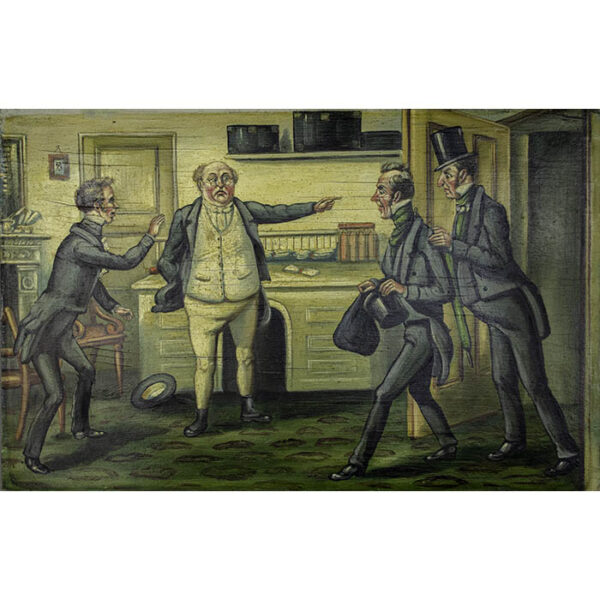 Scene from Dickens' The Pickwick Papers, Pickwick confronting lawyers