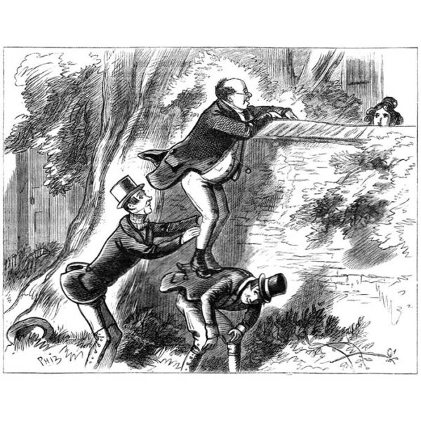 Phiz's original illustration of Pickwick attempting to converse with Arabella