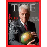 Bill Clinton on Time Magazine with globe from George Glazer Gallery