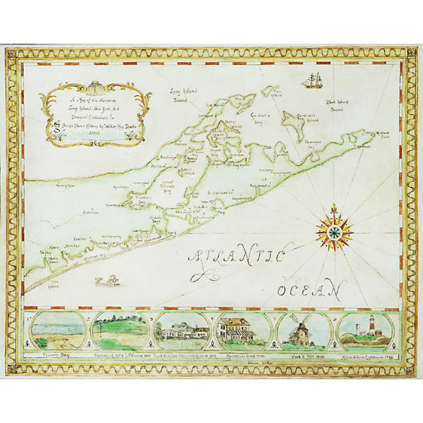Map of the Hamptons, hand-painted map by Donna Walker