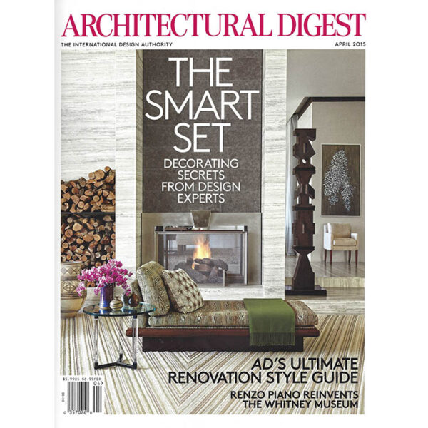Cover of Architectural Digest issue where the article appeared.