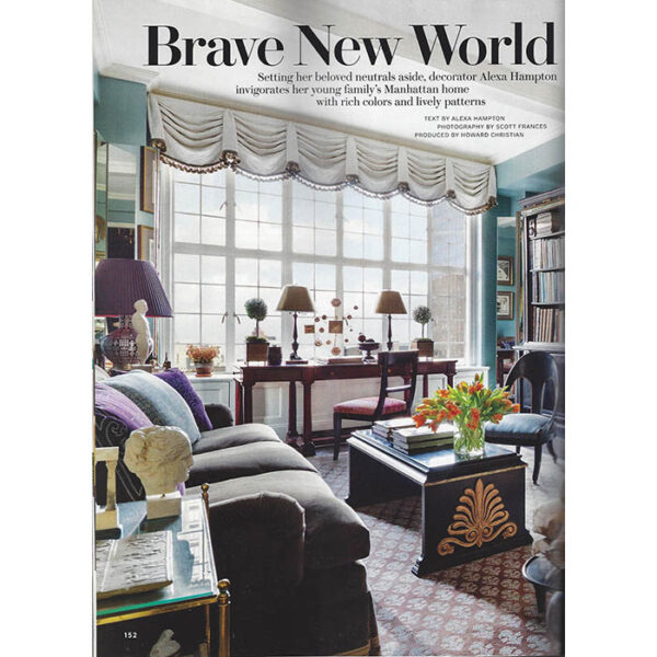 First page of Alexa Hampton's article in Architectural Digest in 2015. Photo: Scott Frances.