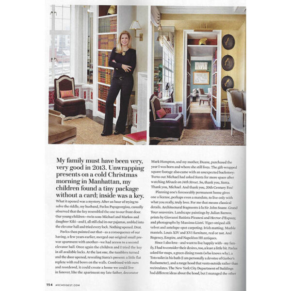 Alexa Hampton in her article in Architectural Digest in 2015. Photos: Scott Frances.